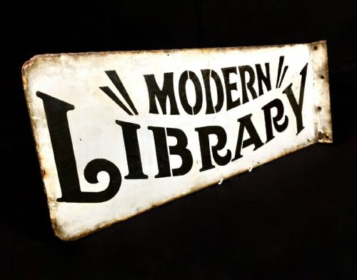 Antique Large Enamel Sign 'Modern Library' by Whittle Eccles / Double Sided